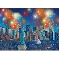 Fuochi d'artificio sopra la Statua della Libertà