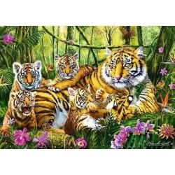 Famiglia di tigri nella giungla